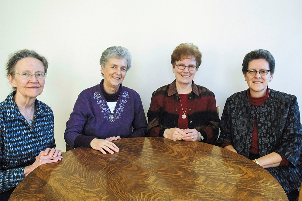 Congregational Leadership Team (right to left): Mary Ellen Hollohan, SNJM, General Councilor, Kathleen Ross, SNJM, General Councilor, Lorna Cooney, SNJM, General Councilor, Linda Haydock, SNJM, Congregational Leader.